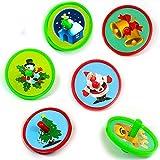 German Trendseller® 6 x mini toupies de Noel┃idée cadeau┃motifs de Noel: bonhomme de neige, Papa Noel, sapin de Noel, rentier, cloche, église