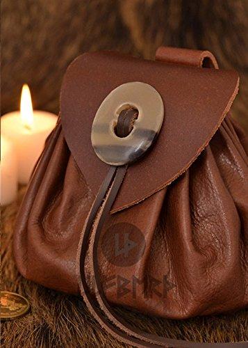 Geldbeutel mit Hornknopf, rotbraun Lederbeutel, groß Ledertasche - Wikinger - LARP - (Mittelalter Kostüme Authentische)
