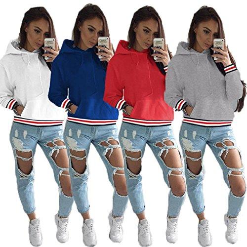 Tomwell Donna Autunno Manica Lunga Strisce Cappotto Giacca Felpa con Cappuccio Oversized Sweatshirt Hoodies Pullover Moda Tasca Frontale Blu