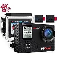 hdcool HC80004K de acción cámara 16Mp FHD 1080con WiFi impermeable Deportes cámara de 2.0pulgadas LCD de pantalla, 170° Ultra amplio de lente, 2pilas recargables con 1050mAh