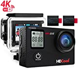 HDCOOL Action Cam 4K Unterwasser Kamera Wasserdicht Camera WiFi Dual LCD Bildschirm Outdoor Ultra Full HD 16MP 1080P Helmkamera 170