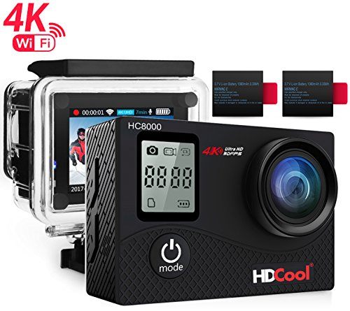 Galleria fotografica HDCool Action Cam 4K Full HD 16MP Action Camera Waterproof Schermo LCD 2.0 Pollici con Schermata Anteriore a 0.66 Pollici Wifi Sports Camera 170 ° Super Grandangolo, 2 Batterie Ricaricabili 1050mAh