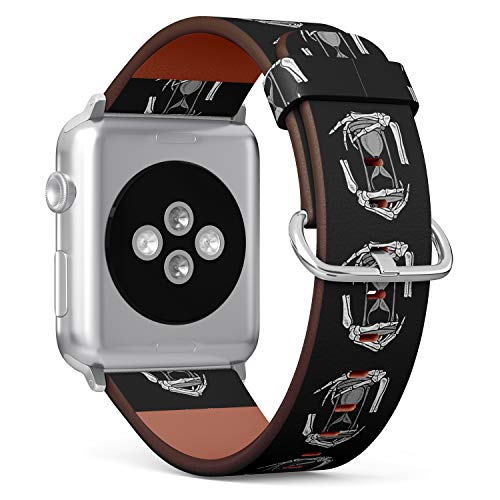 tch Armband, Echtes Leder Uhrenarmband f¨¹r Apple Watch Series 4/3/2/1 Sport Edition 38/40mm - Hands of Grim Reaper and Hourglass ()