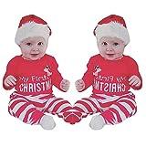 TEBAISE Weihnachten Neugeborenes Baby Mädchen Jungen Strampler Overall + Hut 2 Set Outfit Kleidung Weihnachten Karneval Fasching