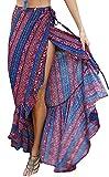 KE1AIP Femmes d'été Casual Boho Haute taille Maxi longue jupe enveloppé Beach Cover Up side Slip robe