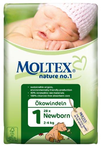 Moltex - Nature, pañales nappy, tamaño 1 (2 - 4 kg), pack de 28 pañales