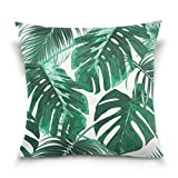 Double Sided Tropical Green Palm Leaves Cotton Velvet Square Pillow Slipcovers 20x20 Inch Decorative for Chair Auto Seat