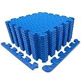 diMio 30x30cm Sport-Schutzmatten Set - 12 Puzzlematten inkl. Randstücke ergibt ca. 1.1qm Schutzmatte/Unterlegmatte / Fitnessmatte/Bodenschutz Matte [30x30cm, blau]