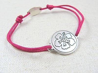 """Bracelet cordon tréssé """"Hibiscus"""" 18mm finition argent 925"""