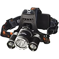 5000LM 3x CREE XM-L T6 LED Focus Phare/Headlamp Headlight Zoom Head Torch Light + 2 X 18650 Batterie + Chargeur UE LD363