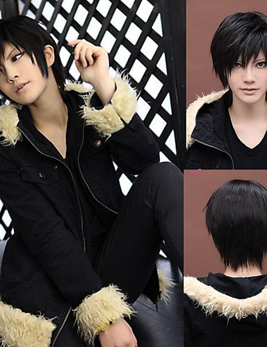 Fashion wigstyle angelaicos Herren DuRaRaRa DRRR Izaya Orihara Boy Kurz Schwarz Layered Halloween-Kostüm Harajuku Anime Cosplay Party (Kostüme Boy 50's)