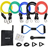 MORECOO Kit Fitness Bande d'Exercice Musculation Latex 12 PCS, Elastique Musculation Résistance...