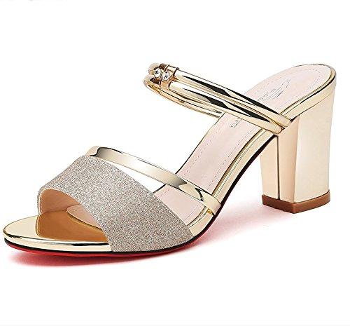 XY&GKDamen Sandale Highheels Sommer grob Toe All-Match koreanischen Strass Sandalen tragen In zwei Frau 39 gold