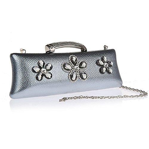 KAXIDY Clutches Handschlaufe Unterarmtasche Abendtasche Umhängetasche Damentasche Handgelenktasche Grau