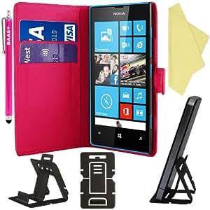 BAAS® Rose Etui Housse Coque en Cuir Portefeuille pour Nokia Lumia 520 + 3 x Film de Protection d'Ecran + Stylet Pour Ecran Tactile