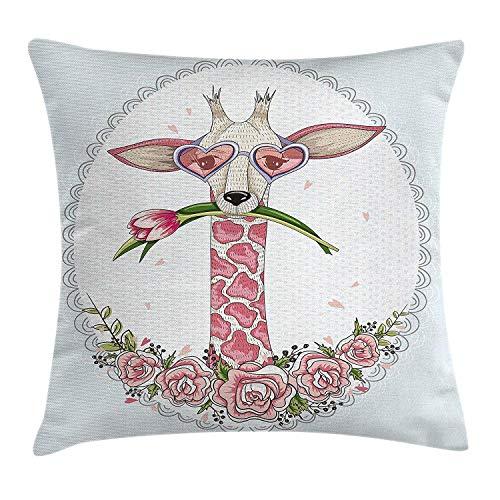Ddoby cuscino prendisole di san valentino, giraffa a vita bassa con tulipano occhiali a forma di cuore cornice d'epoca, copricuscino in accento quadrato, rosa blu chiaro
