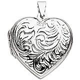 JOBO Damen Medaillon Herz zum Öffnen für 2 Fotos 925 Sterling Silber Herzanhänger