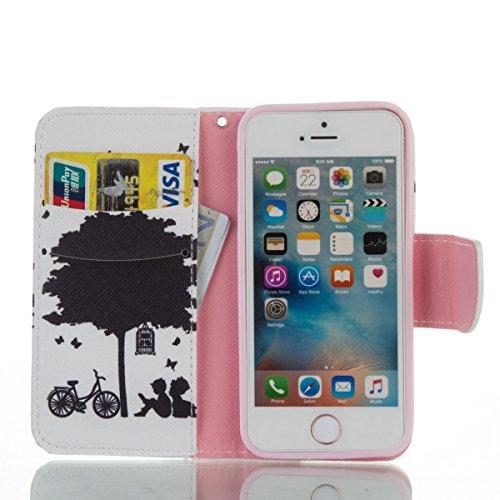 Handyhülle für Apple iPhone 5/5s/SE, Ekakashop Ledertasche Schutzhülle im Bookstyle für iPhone 5s, Rote Feder Muster Leder Tasche Handytasche Zubehör Portemonnaie mit Kartensteckplätze für iPhone SE + Schwarz-Baum