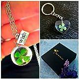 Trébol de la suerte Collar y llavero Set de regalo - trébol de cuatro hojas colgante con cadena de plata esterlina medallón llavero Conjunto de joyas a juego para niñas