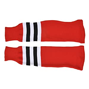 SCHANNER – Erwachsenen Hockeystutzen NHL Senior I Schienbeinschutz I Stutzen für Hockeyspieler I Eishockey-Stutzen I ideale Passform I 100% Polyester – Rot/Weiß/Schwarz