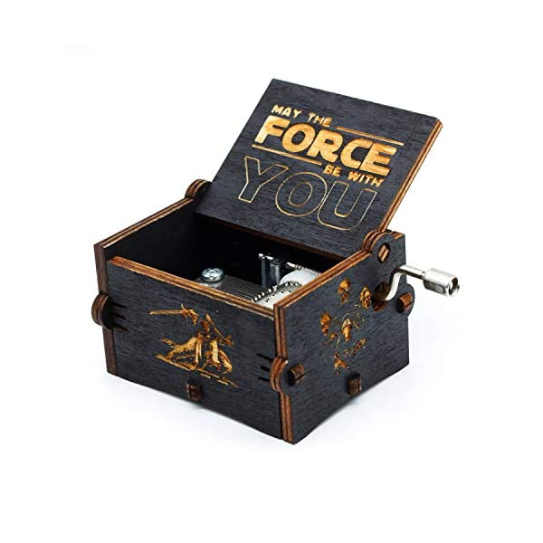 Black Wood Star Wars Music Box, Antique Carved Hand Cranked Wooden Musical Boxes Home Decoration Crafts for Children Gifts 2