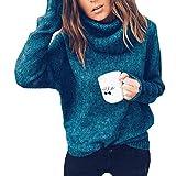 OranDesigne Pullover Damen Rollkragenpullover Warm Oversize Strickpullover Winter Lose Gestrickt Langarmshirts Sweater Oberteile Grün DE 36