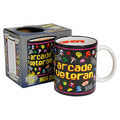 Arcade Veteran Mug. Eye-catching design ft. Frogger, Pac-Man, QBert etc.