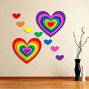 Impression PVC Vinyl Heart Design Wall Sticker Cover Area :- 24 X 24 inch