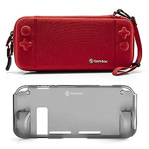 tomtoc Schutzhülle Tasche für Nintendo Switch Konsole und Joy-Con Strap, [Combo Kit] Hartschale mit Grip Case Back Cover, Tragetasche Aufbewahrungstasche mit 10 Spielkartenfächer