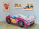 Alcube | Kinderbett Auto-Bett Pink | 160 x 80 cm | mit Rausfallschutz, Lattenrost und Matratze | MDF beschichtet