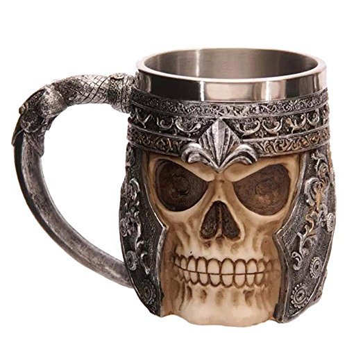 AOLVO Mug Tête de Mort en Acier Inoxydable, Viking Priate médiéval Squelette 3D Résine Tête de Mort Ballon (Verre) pour l'eau Bière Café Boire Chope Stein avec poignée 450 ML (453,6 Gram)