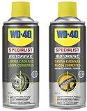 WD-40 Specialist Motorbike - Lote para cuidado y mantenimiento de cadena moto con Spray Limpiacadenas 400Ml + Grasa de Cadenas 400Ml - Pack 2 unidades