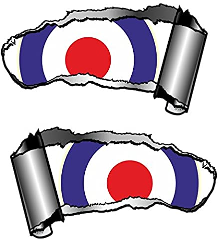 Small Handed Pair Of Novelty Torn Ripped Open Gash Metal Effect Car Sticker Decal To Reveal MOD Style RAF Roundel Target Design 93x50mm Each