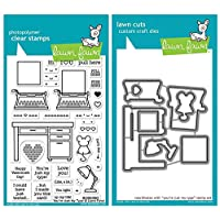 """Lawn Fawn You're Just My Type 4""""x6"""" Clear Stamp and Coordinating Custom Die Set, 2 Item Bundle (LF2165, LF2166)"""