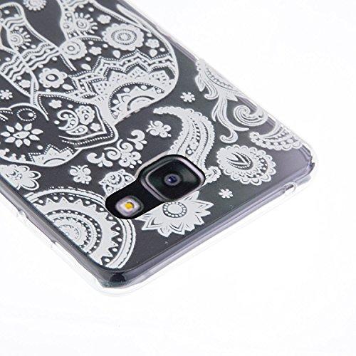 Galaxy A7 (2016) Hülle, SainCat Silikon Hülle Tasche Handyhülle [Kratzfeste, Scratch-Resistant] TPU Gel Bumper Case Weiches Transparentes Silikon Schutzhülle Crystal Kirstall Clear Case Durchsichtig M Black Rose
