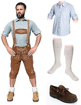 Herren Trachten Set C 5-teilig Trachten Lederhose HELLBRAUN 46-60 Trachtenhemd Schuhe Socken Oktoberfest