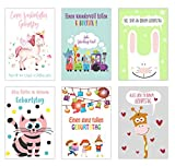 Set 6 Kinder Geburtstagskarten mit Umschlag. Glückwunschkarten zum Geburtstag mit Umschlag. Grusskarte Geburtstagskarte Kindergeburtstag (Doppelkarten/Klappkarten mit Briefumschlag)