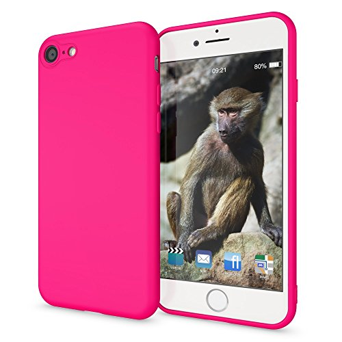 NALIA Handyhülle kompatibel mit iPhone 8/7, Ultra-Slim TPU Silikon Neon Case, Dünnes Cover Gummi Schutzhülle Skin, Etui Handy-Tasche Backcover Smart-Phone Bumper, Farbe:Pink Pink Gummi Case
