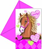 Unbekannt 6 Stück Einladungs-Karten/Geburtstags-Einladung Kinder-Geburtstag Mädchen mit Pferden/Motto-Party Pferde/Ponys inklusive 6 Kuverts in pink (18 Karten)