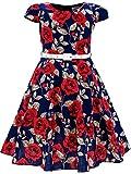 BONNY BILLY Mädchen Klasse Jahrgang Blumen Swing Kinder Party Kleid mit Gürtel 150 C-Blume