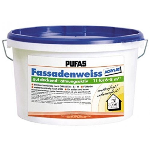 Pufas Fassadenweiss Acrylat 10 L Fassaden-Farbe Fassadenanstrich Fassadenfarbe