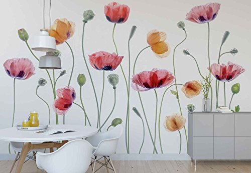 Vlies Fototapete Fotomural - Wandbild - Tapete - Mohnblumen Knospen Vorbauten Makro - Thema Blumen - L - 254cm x 184cm (BxH) - 2 Teilig - Gedrückt auf 130gsm Vlies - 1X-1248015V4