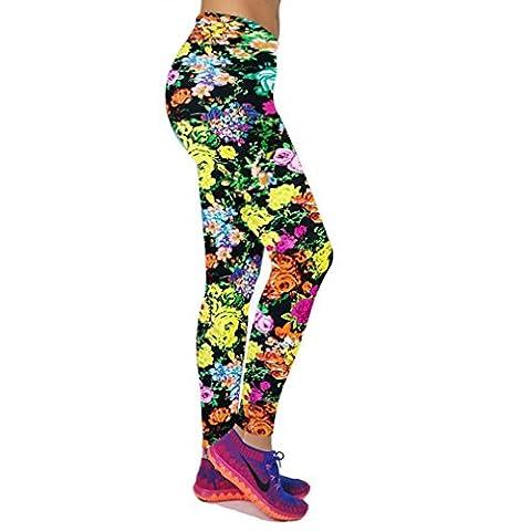 OverDose Women High Waist Fitness Yoga Sport Pants Printed Stretch Cropped Leggings