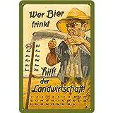 Nostalgic-Art 22132 Open Bar - Wer Bier trinkt hilft der Landwirtschaft, Kalender-Blechschild 20x30 cm