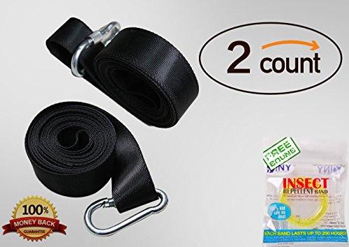 Sangle de suspension Swing Kit [Heavy Duty Crochets] par UU & T Arbre balançoires et hamac accessories-48 cm Sangle avec mousqueton Plus Sûre Serrure à crochet + étui de transport peut contenir jusqu'à 1 000 + kg [] 100% étanche 58 Inch Swing Strap 2 count