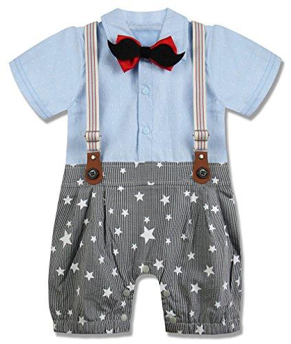 A&J Design Baby Jungen Gentleman Strampler Partei Overall mit Krawatte (Blue, 9-12 Monate)