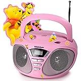 Radio PLL lecteur laser CD entrée AUX chaîne stéréo hi-fi audio rose bonbon