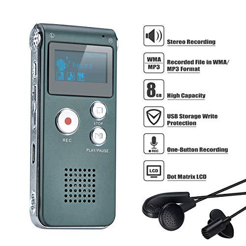 Lysignal Portable Digital Voice Recorder Ton Audio Recorder Diktiergerät LCD-Recorder MP3 Player-8GB (Silbergrau)