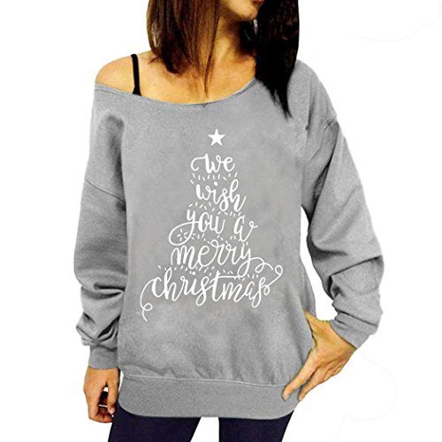 Felpe Donna Yanhoo Donna Natale stampa felpa Pullover Top party più size camicetta camicia Grigio