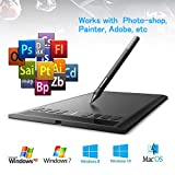 AEDU Ugee M708 USB Grafiktablett Zeichentablett Pen Tablet 10 x 6' Digitalisiertablett Tragbare Zeichnung Graphics Tablet mit Wiederaufladbarem Stift und 8 Schnellzugriffstasten, 5080 LPI 230 RPS 2048 Stufen Geeignet fur Grafikprogramme Photoshop Painter Comic Studio/Sai IS 3DMAX Maya Zbrush, Win7/8/10 Windows XP Windows Vista Mac OS X Unterstutzt Schwarz